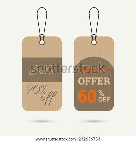 Set price tag with ribbons and labels. special offer, sale 60 % off. banner. brown, orange - stock vector