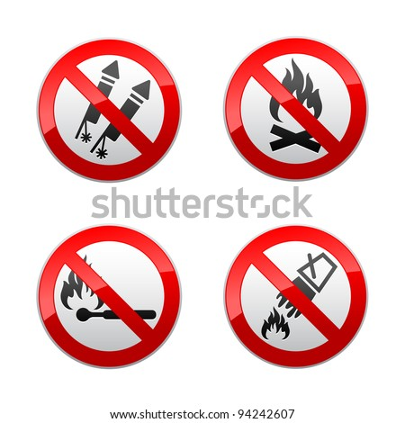 Set prohibited signs - fire - stock vector