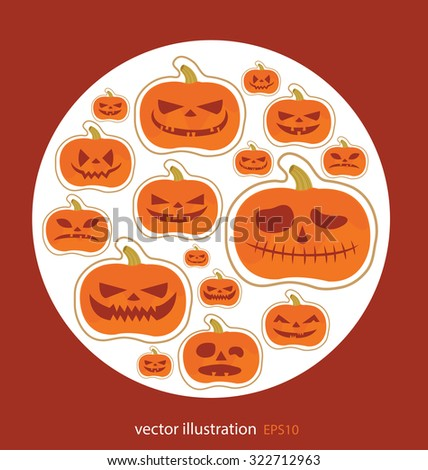 Set pumpkins. Halloween vector illustration. - stock vector