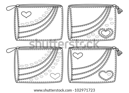 Set purses for money with valentine hearts, black contour on white background. Vector illustration - stock vector