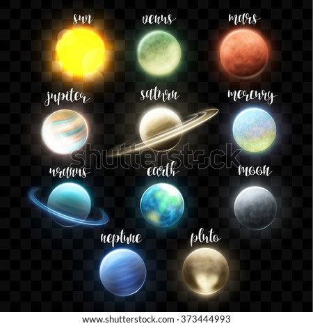 Set realistic bright planets. Light cosmic effects.  Space, Solar system. Earth satellite. Universe, collages - stock vector