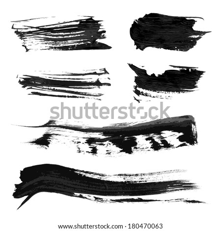 Set realistic vector black thick paint strokes 1 - stock vector