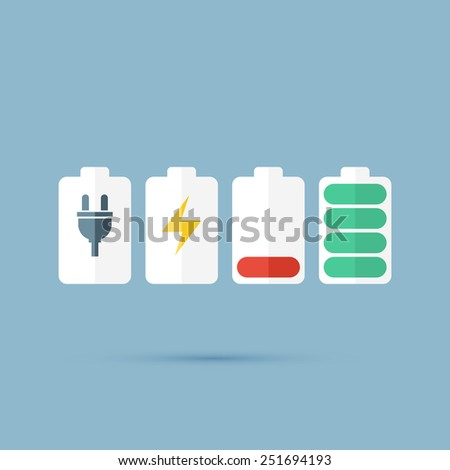Set recharging the battery icon - stock vector
