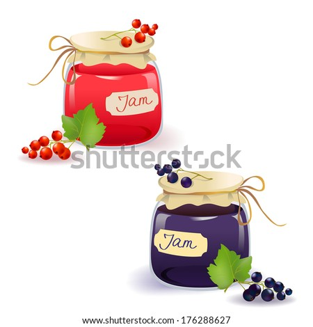 set red and black currant jam. vector illustration - stock vector