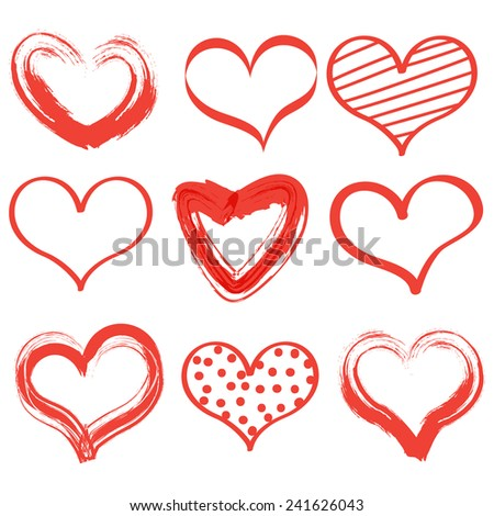 Set Red template Hearts Valentines day on white isolated background. Happy Valentine's Day. Vector illustration EPS 10 - stock vector