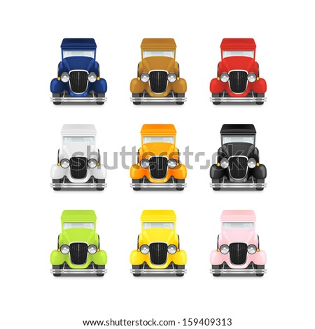 Set Retro Car Icon, Police With Flashing Lights, Red Fire Truck, Yellow Taxi, White Ambulance, Vector Illustration - stock vector