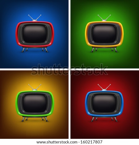 Set retro color tv with background - stock vector