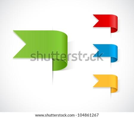 set ribbons tag - stock vector