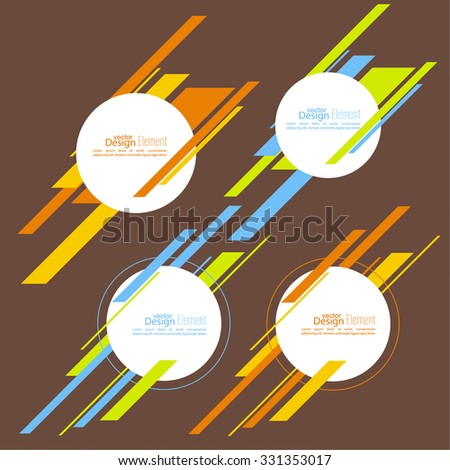 Set round banner with bright diagonal lines. - stock vector