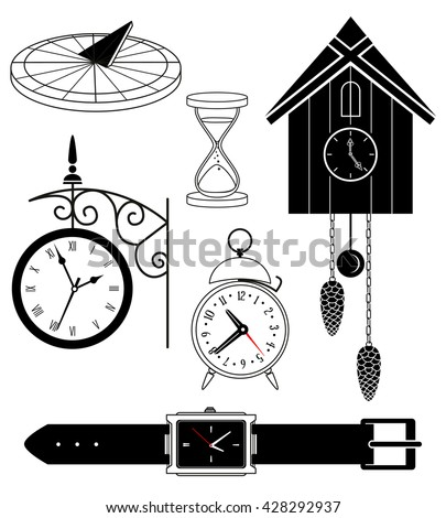 Set: sand, sun, mechanical, cuckoo clock, wrist - stock vector
