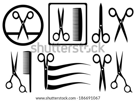 set scissors icons with comb for hair salon - stock vector