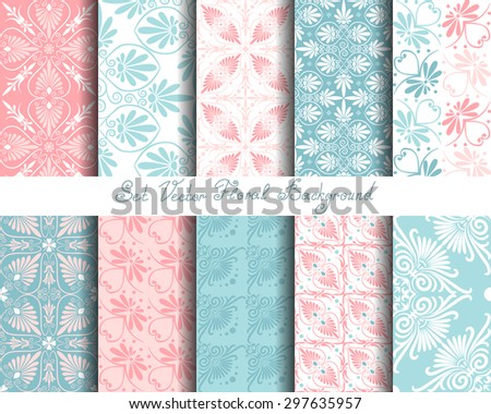 Set seamless cute pink and blue Greek floral pattern, endless texture for wallpaper or scrap booking - stock vector