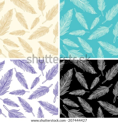 Set seamless feather patterns  - stock vector