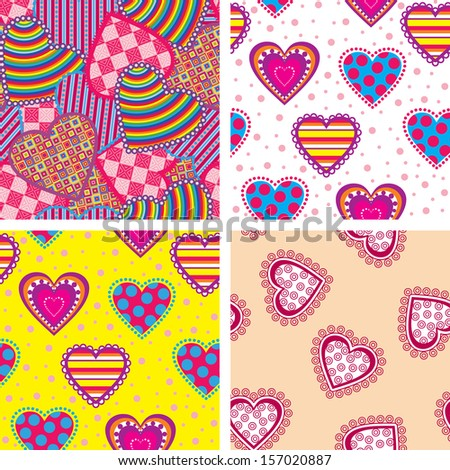 Set seamless pattern with patterned hearts - stock vector