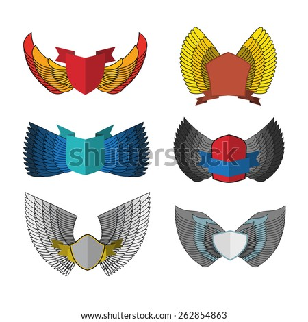 set shield with wings. vintage heraldic element - stock vector