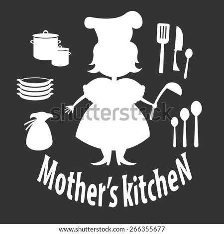 Set silhouette of woman with kitchen utensils - stock vector