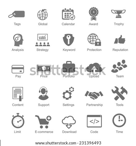 Set  silhouetted black and white SEO and internet icons for optimising a website on a computer each labeled below  with text to show what it represents illustration - stock vector