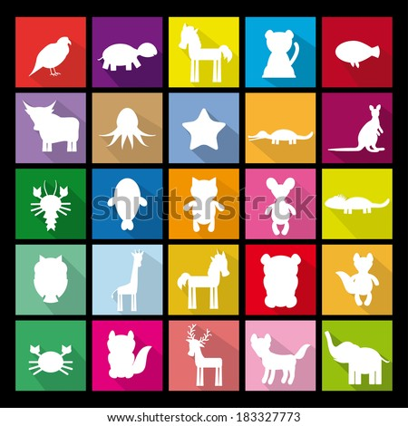 Set silhouettes of animals. Flat icon. logo. vector - stock vector