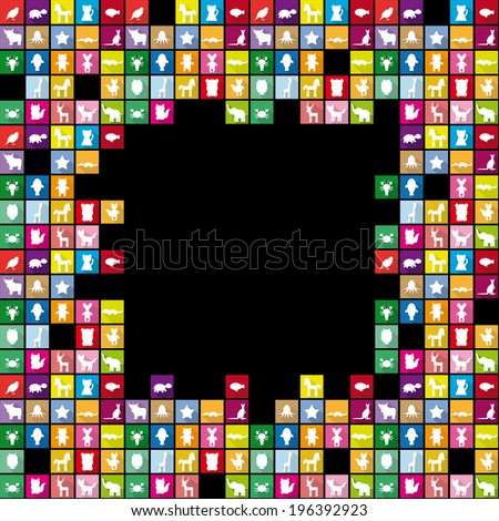 Set silhouettes of animals in Trendy Flat Style. Square frame for text. Black background. vector - stock vector