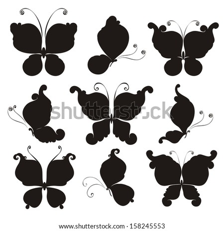 Set silhouettes of butterflies - stock vector