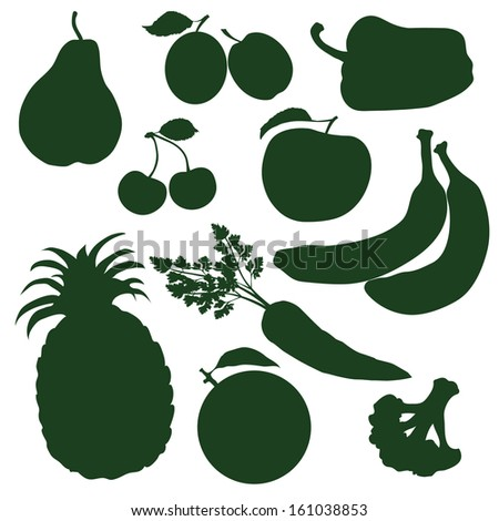 set silhouettes of fruits and vegetables - stock vector