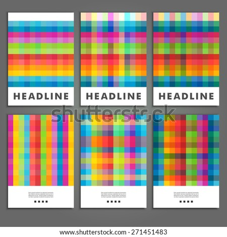 Set six book covers background of colored squares. - stock vector