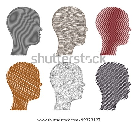 Set sketchy illustration heads. Vector - stock vector