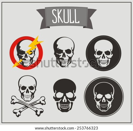 set skulls vector, black skull on gray background, isolated skull - stock vector