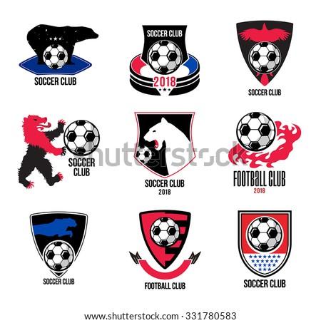 Set Soccer badges logotype design elements. Collection symbol of football: soccer ball, heraldry, insignia. Soccer ball sign logo. Football symbol. Sporting the emblem. Animals heraldic shield banner. - stock vector