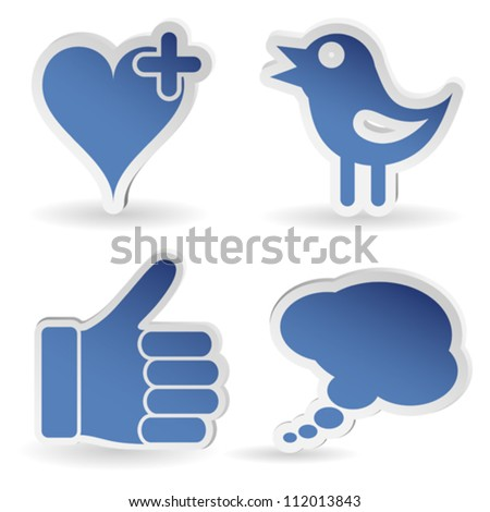 Set Social Media Sticker with Like, Speech Bubble, Heart and Bird Icon, isolated vector - stock vector