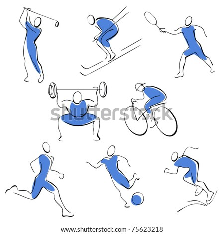 Set sport icons. man on a blue background. - stock vector