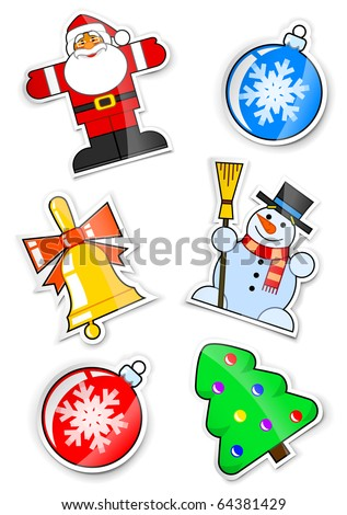 set sticker santa claus snowman handbell firtree ball for christmas vector illustration isolated on white background - stock vector