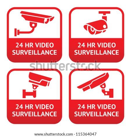 Set stickers for security alarm cctv, camera surveillance - stock vector