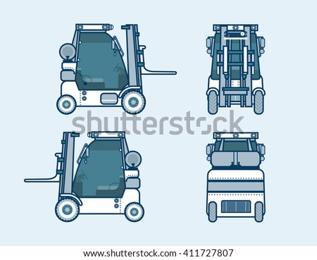 Set stock vector illustration isolated loader front, side, back view in line style blue background Element for site, info graphics, video, animation, websites, e-mails, newsletters, reports, comic - stock vector