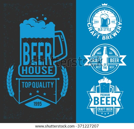Set styled label of beer.  Vector illustration, icons, labels, signs, symbols and design elements - stock vector
