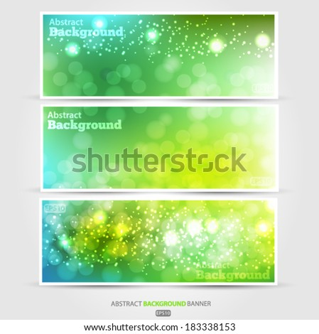 Set summer banners abstract blurred green background with bokeh effect. Spring, nature, overcast. Vector EPS 10 illustration. - stock vector