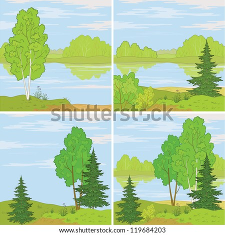 Set summer landscapes: forest, river and the blue sky with white clouds. Vector - stock vector