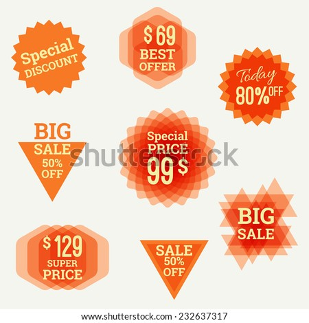 Set tags with polygons, triangles, Crystal and labels. special discount, best offer, big sale, super price, 80% off.  - stock vector