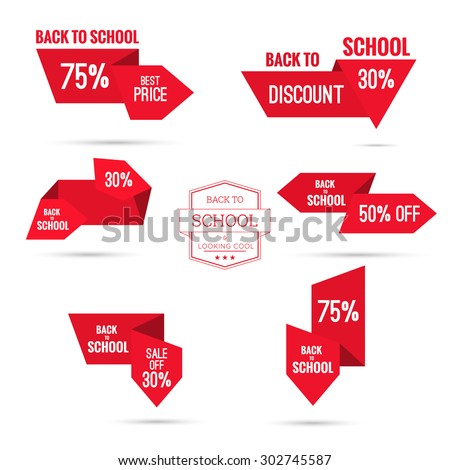 Set tags with ribbons and labels. special offer, discount and percentages, price, back to school - stock vector