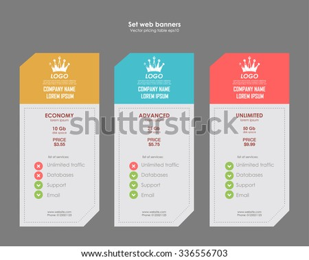 Set tariffs. interface for the site. ui ux vector banner for web app. Pastel pricing table, banner, order, box, button, list and bullet with plan for website in flat design - stock vector