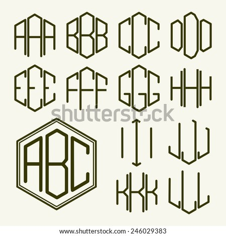 Set 1 template letters to create a monogram of three letters inscribed in a hexagon in Art Nouveau style - stock vector