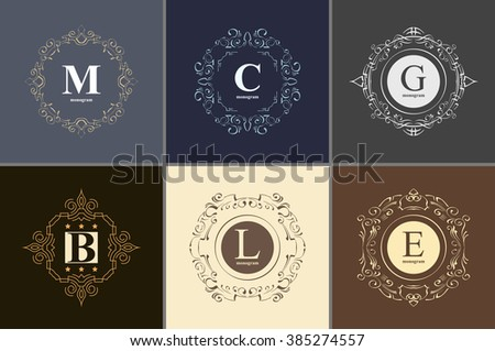 Set the elegant monogram design template. Luxury calligraphic emblem frame ornament. Line logo design. Vector illustration good for Boutique, Restaurant, Cafe, Heraldic, Hotel, Fashion, Jewelry. - stock vector