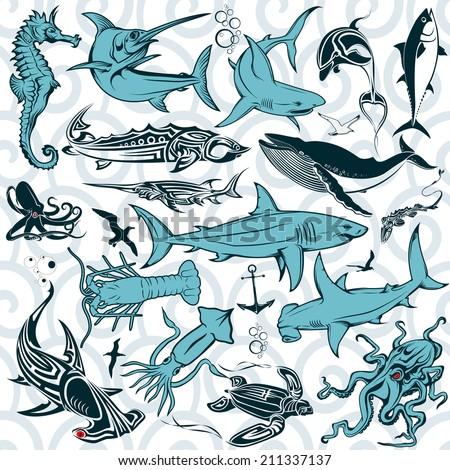 Set the inhabitants of the deep sea. Vector. - stock vector