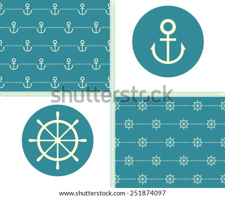 Set the steering wheel and anchor patterns. Vector. - stock vector