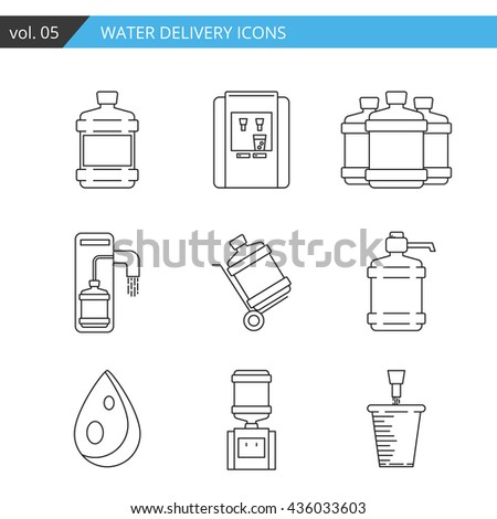Set thin line water delivery icon. Water bottle icon isolated on white background. Water bottle icon for web, mobile, app. Stylish water bottle delivery icons for your needs. Premium quality icon. - stock vector