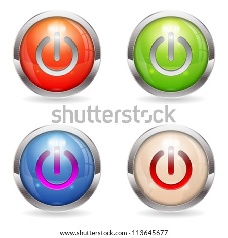 Set three dimensional round button with Switch icon, vector illustration - stock vector