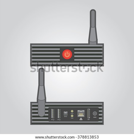 Set top box for media content and entertainment. Detailed illustration of the connection ports. - stock vector