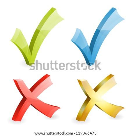 Set Transparent Check Marks Various Colors, easy change color, icon isolated on white, vector illustration - stock vector