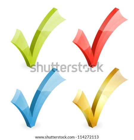 Set Transparent Check Marks Various Colors, easy change color, isolated on white, vector illustration - stock vector
