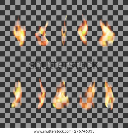 Set 10  transparent fire flames. Vector illustration of fire elements for web design and graphic design - stock vector